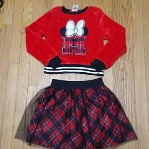 2 PC Minnie mouse plaid skirt set
